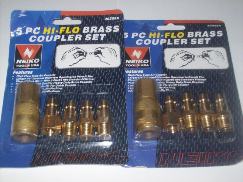 10pc HI-FLO BRASS QUICK COUPLER AIR HOSE FITTING PLUGS