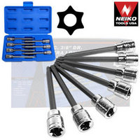 7pc 3/8 EXTRA LONG TAMPER PROOF TORX BIT SOCKET SET