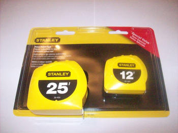 2 STANLEY POWER RETURN LOCK TAPE MEASURES 25' & 12'