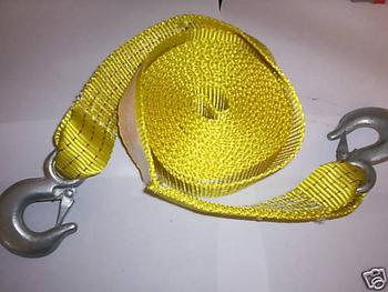 2x20ft POLYESTER TOW STRAP 10000LB SPRING-LOADED HOOKS