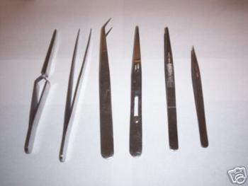 6pc STAINLESS STEEL TWEEZER ASSORTMENT