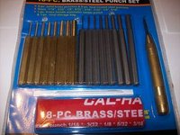 18pc SOLID BRASS AND STEEL PUNCH SET PIN CENTER