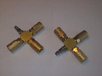 2 CALHAWK 3-WAY AIR HOSE MANIFOLDS BRASS QUICK COUPLERS