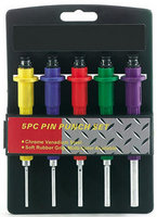 5pc PIN PUNCH SET RUBBER GRIP COLOR CODED ST1025PP